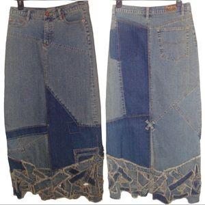 Pepe Jeans Boho Denim Patchwork Maxi Skirt M